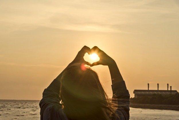 heart sunset