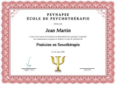 Praticien en Sexothérapie
