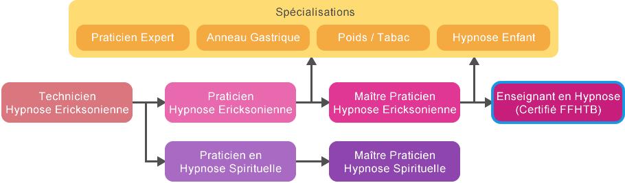 Schéma cursus Enseignant en Hypnose (Certifié FFHTB)