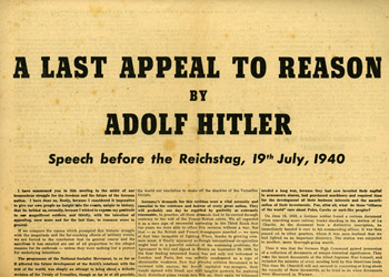 Hitler's Last Appeal to Reason