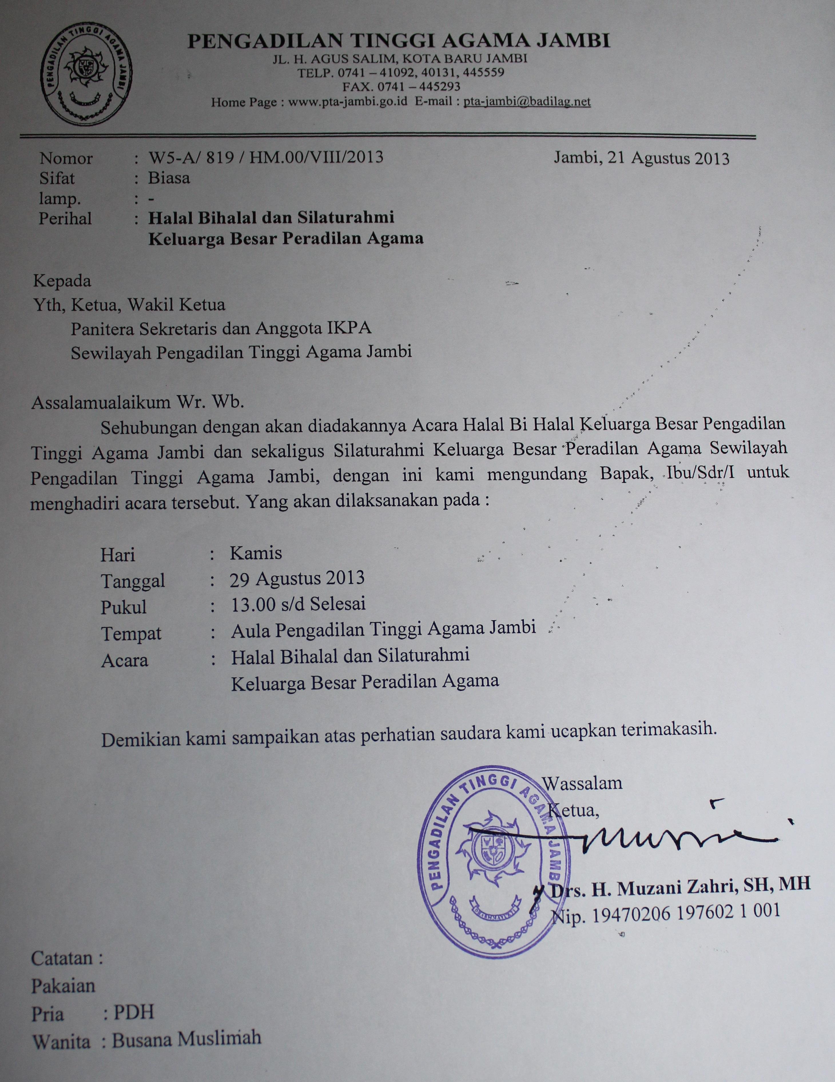 Undangan Halal Bi Halal Keluarga Besar Peradilan Agama