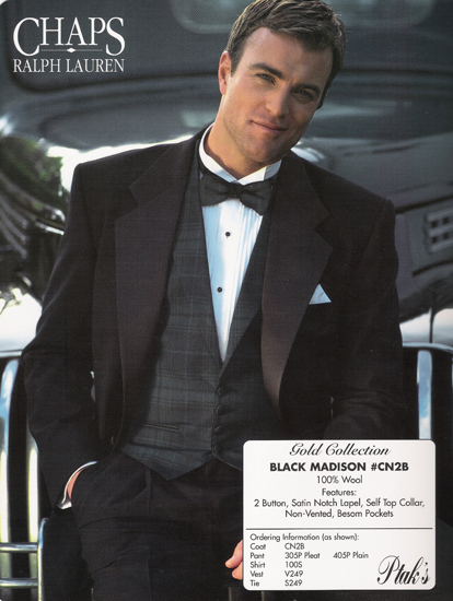 Ralph Lauren Black Chaps Madison 2 B Notch Tux Style#CN2B