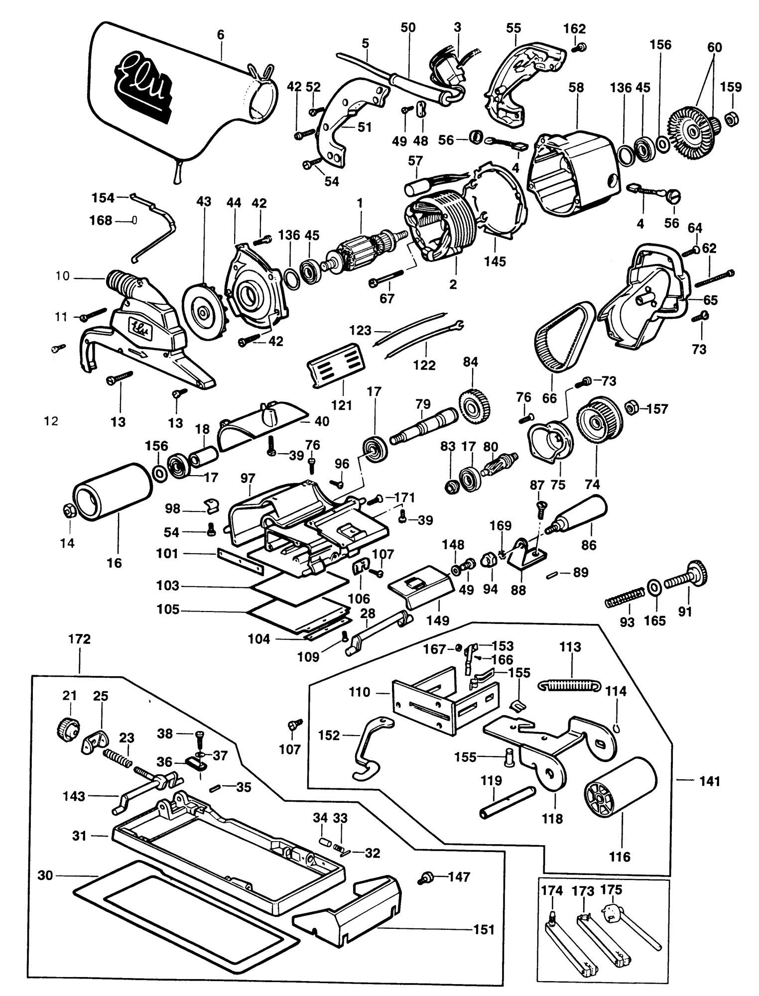 Spares For Elu Mhb90 Belt Sander Type 4 Spare Mhb90 Type