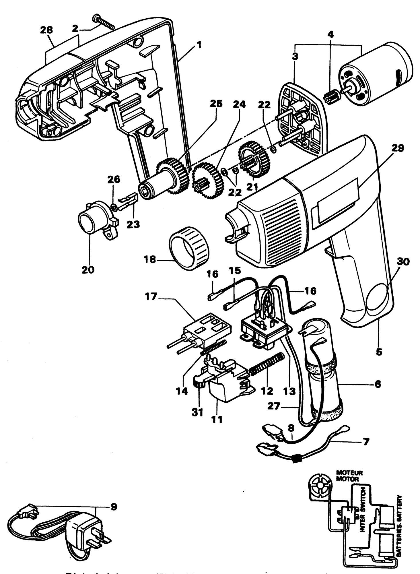 Spares For Black Amp Decker Bd430 Screwdriver Type 1 Spare