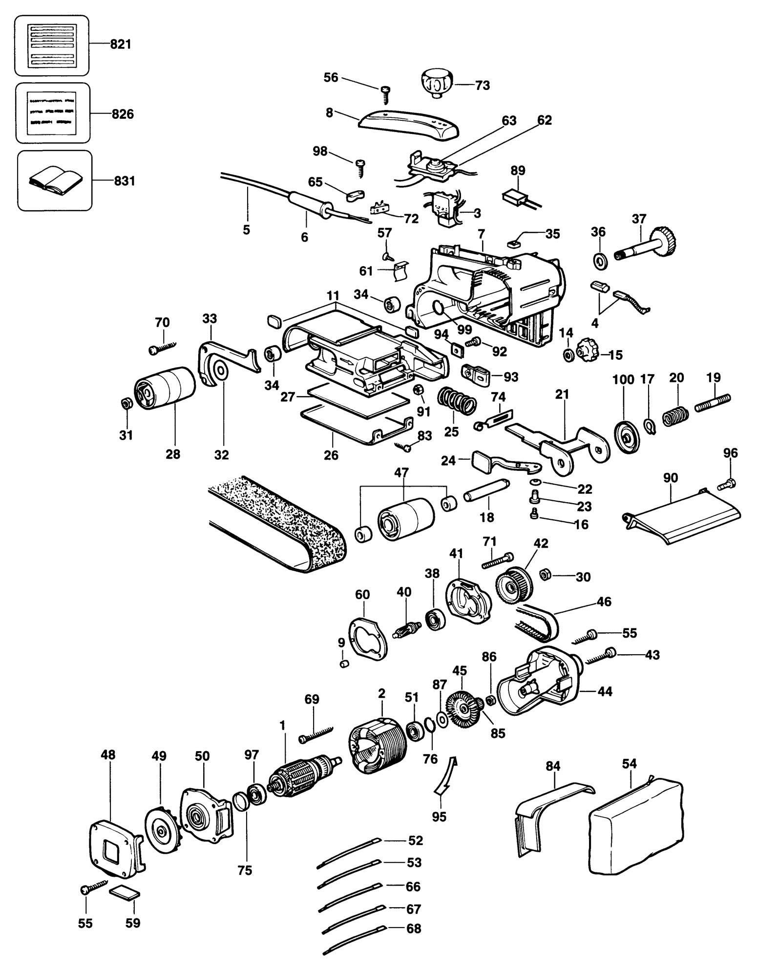Spares For Dewalt Dw431 Belt Sander Type 5 Spare Dw431