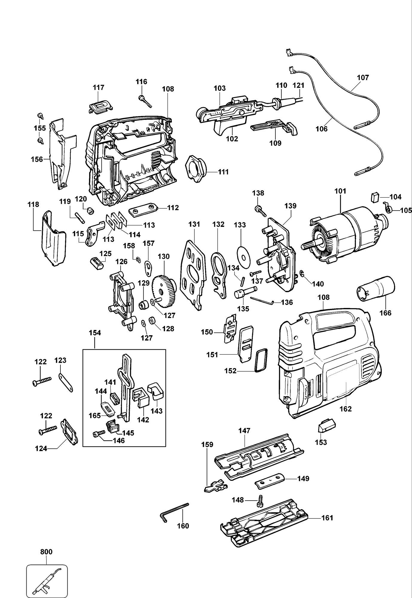 Spares For Dewalt Dw320k Jigsaw Type 1 Spare Dw320k Type