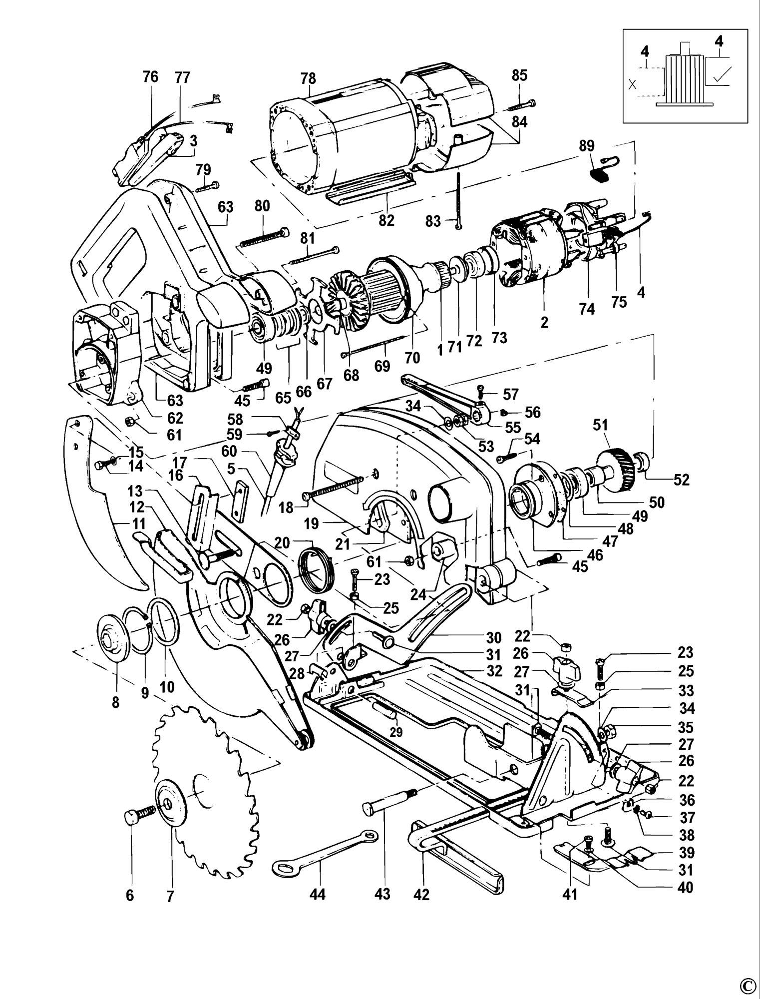 Spares For Dewalt Dw383 Circular Saw Type 1 Spare Dw383