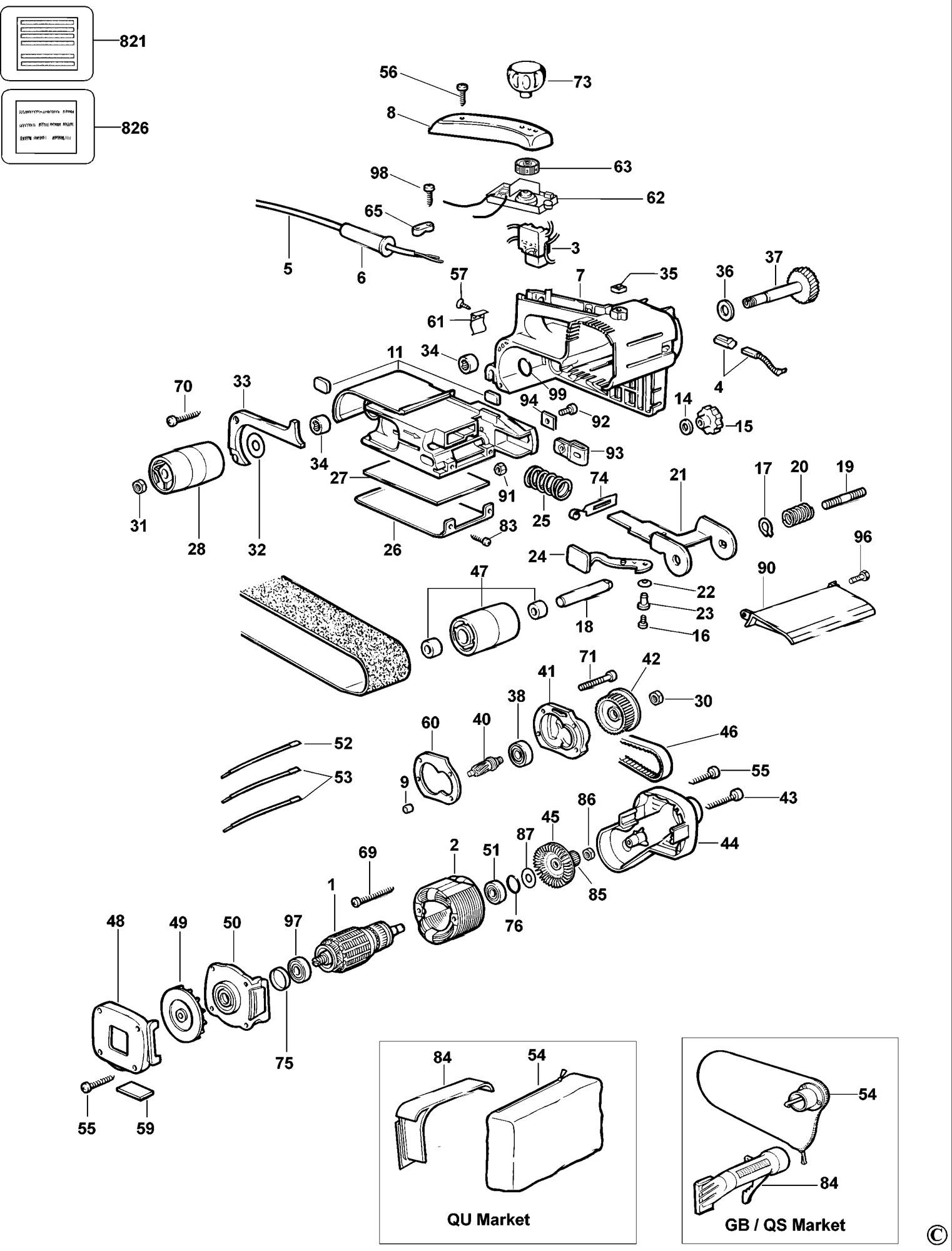 Spares For Dewalt Dw431 Belt Sander Type 6 Spare Dw431