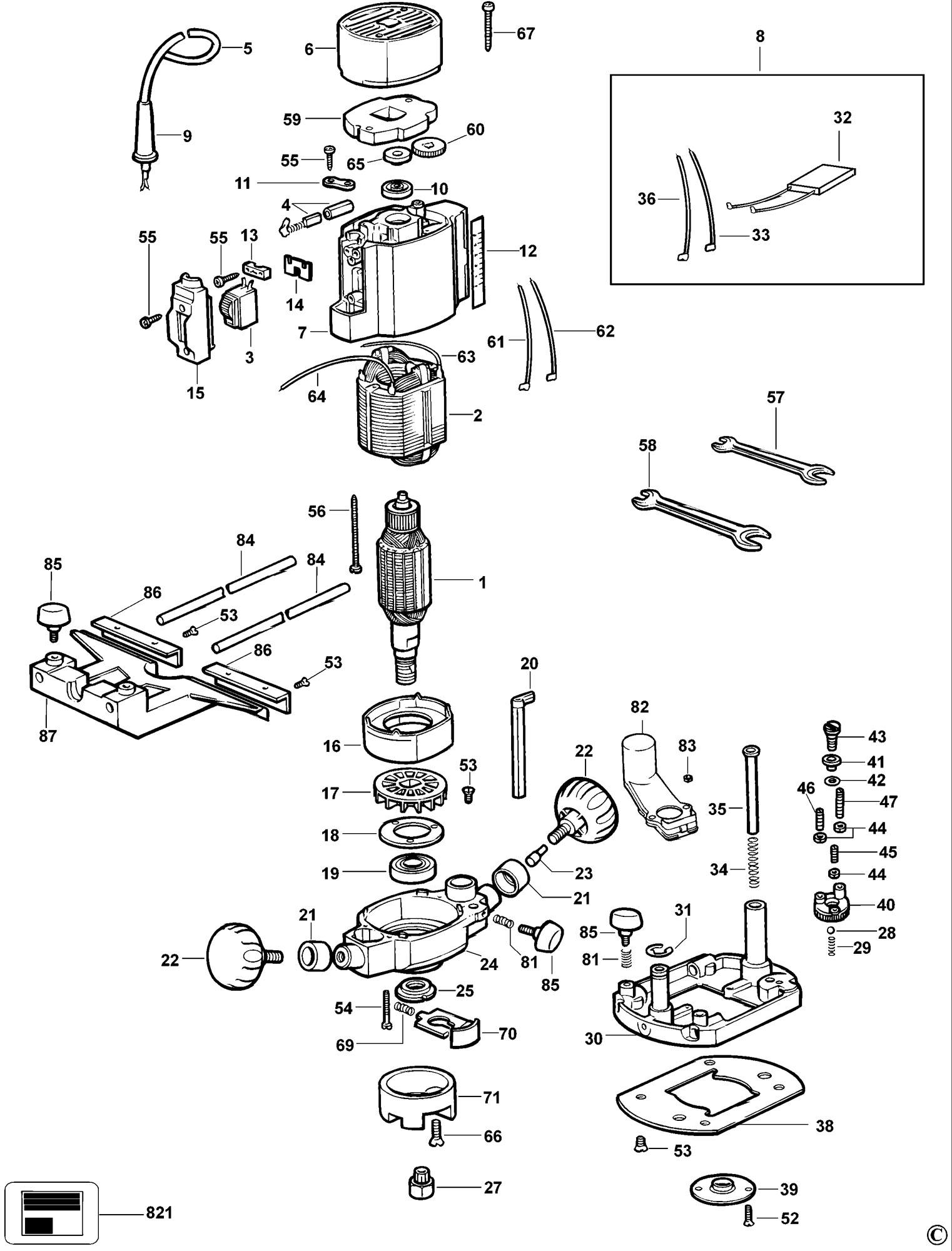 Spares For Dewalt Dw615 Router Type 4 Spare Dw615 Type 4