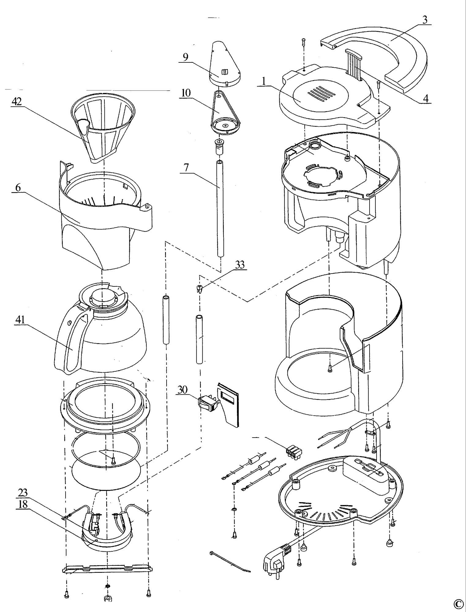 Spares For Black Amp Decker Dcm70f Coffeemaker Type 1