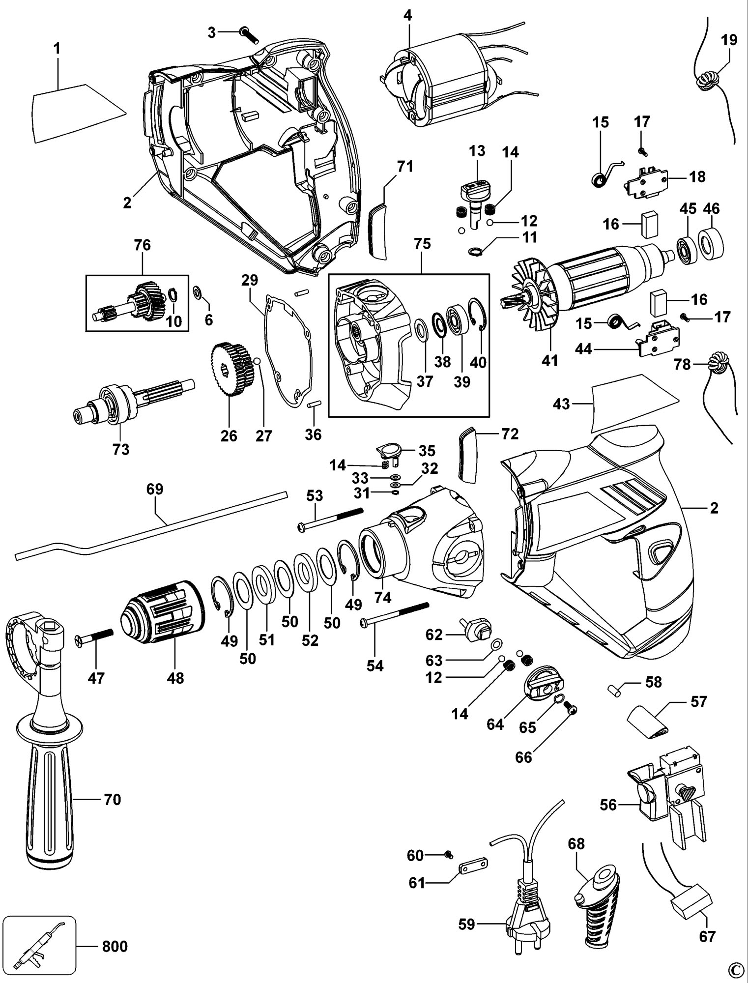 Spares For Black Amp Decker Kr110 Hammer Drill Type 1 2
