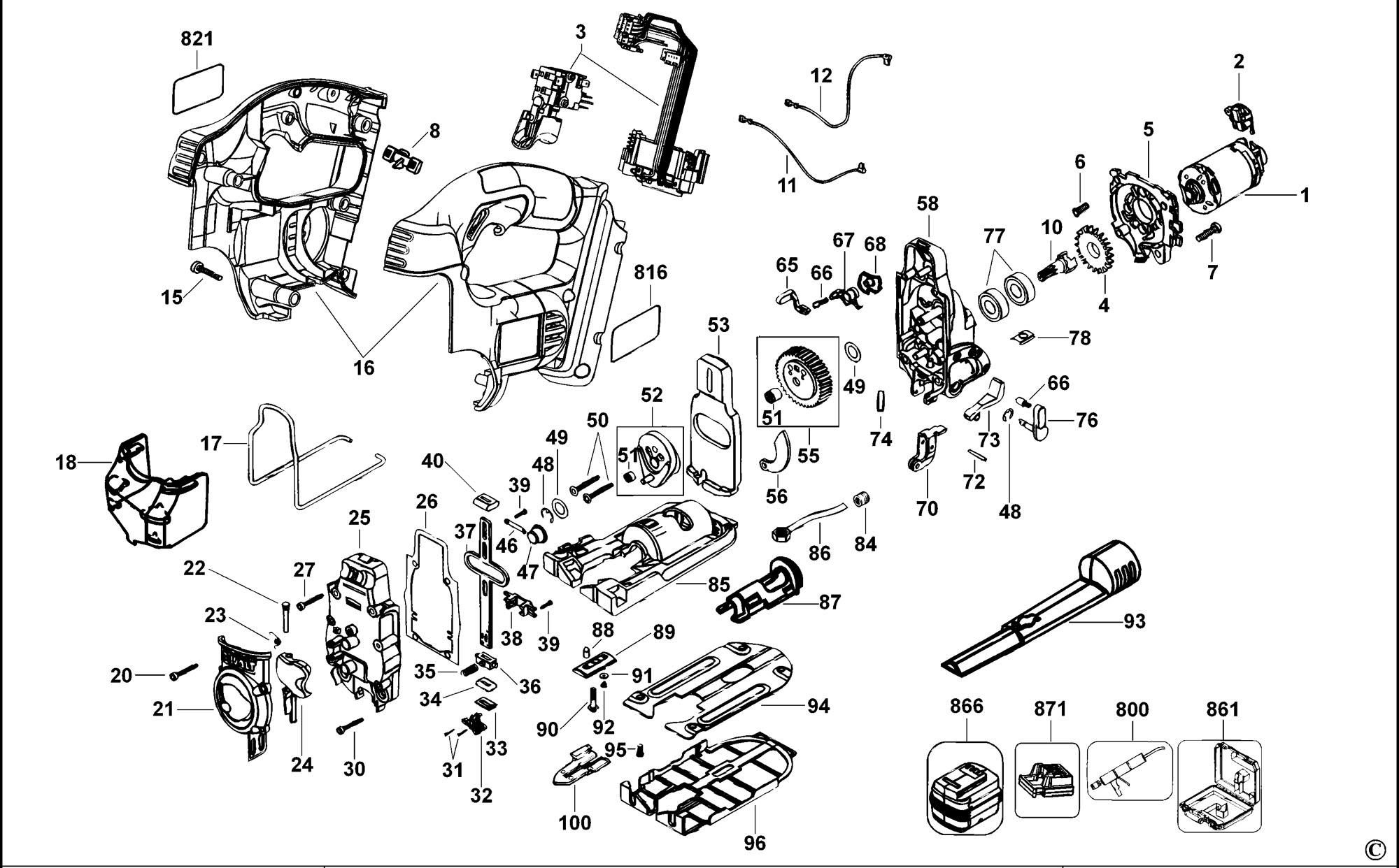 Spares For Dewalt Dc308k Cordless Jigsaw Type 1 Spare