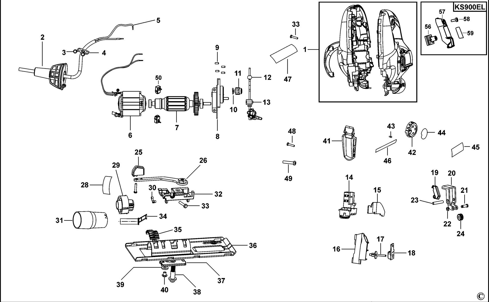 Spares For Black Amp Decker Ks900e K Jigsaw Type 1 Spare
