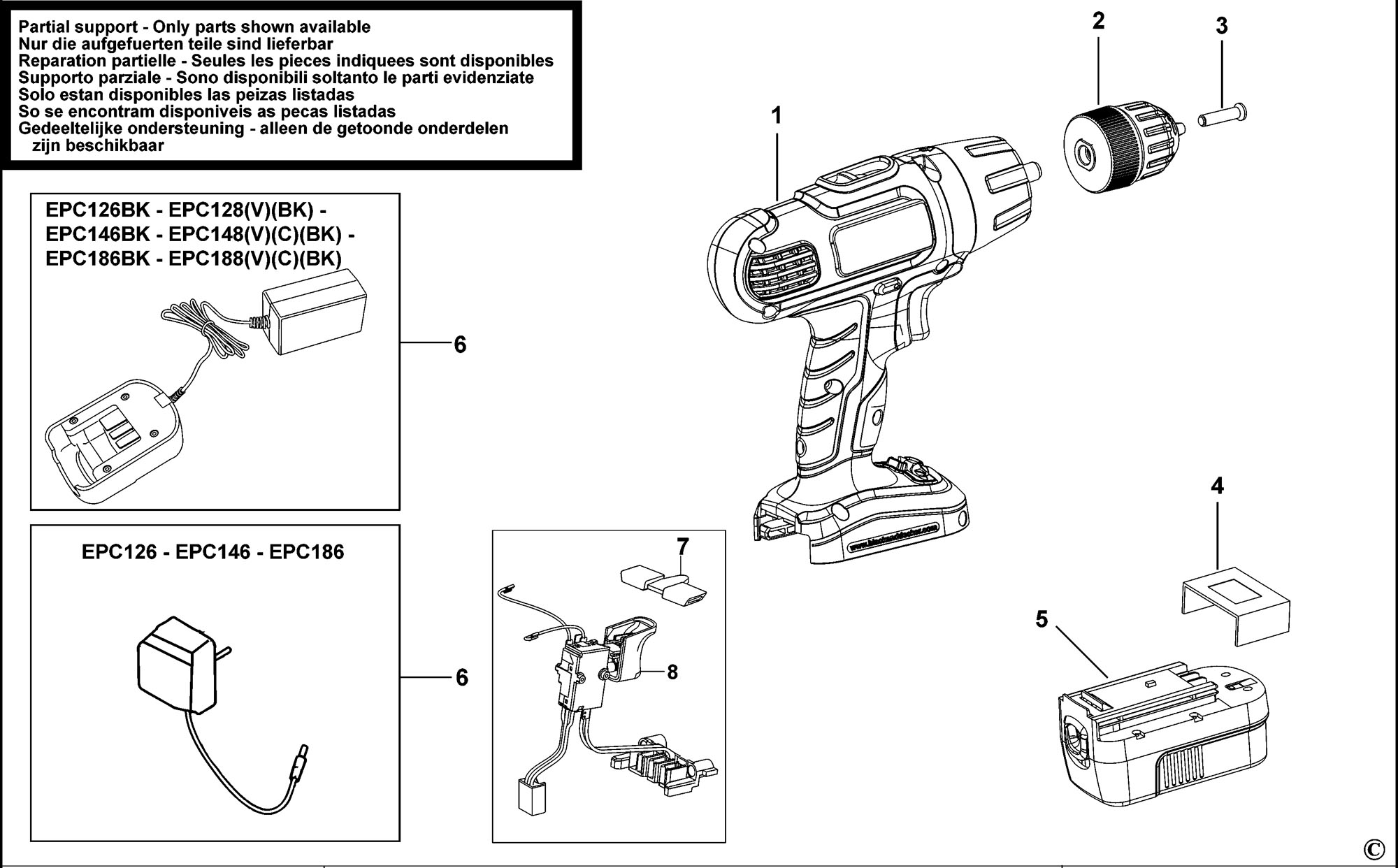 Spares For Black Amp Decker Epc148v Cordless Drill Type H1