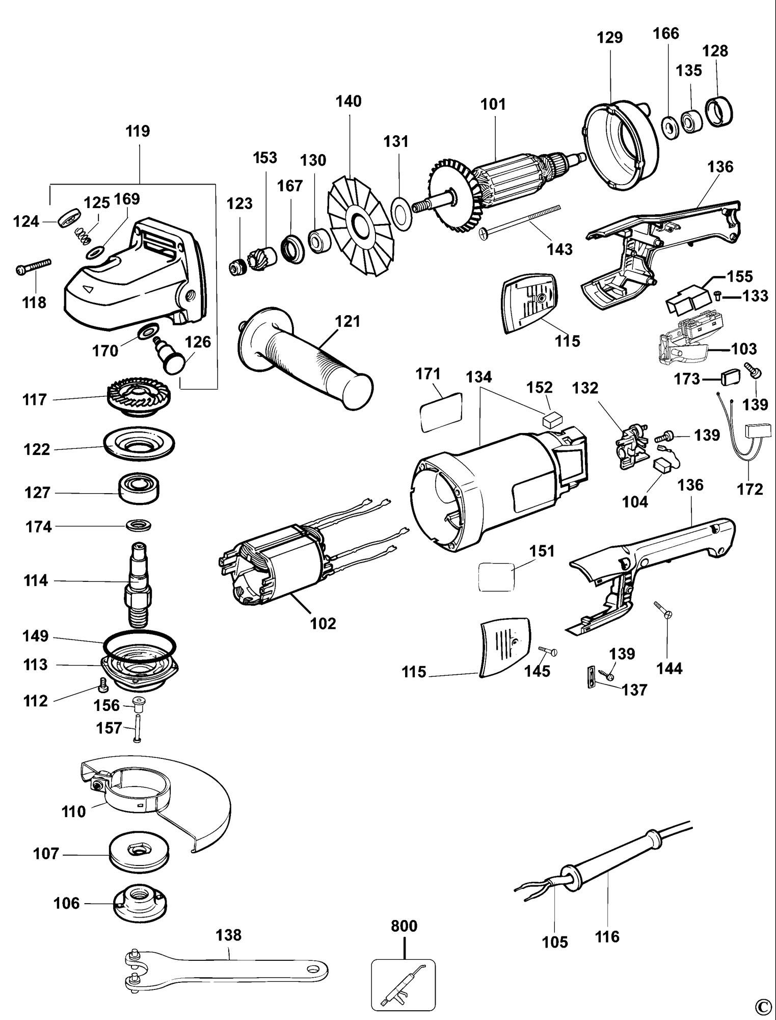 Spares For Dewalt Dw840 Angle Grinder Type 3 Spare Dw840