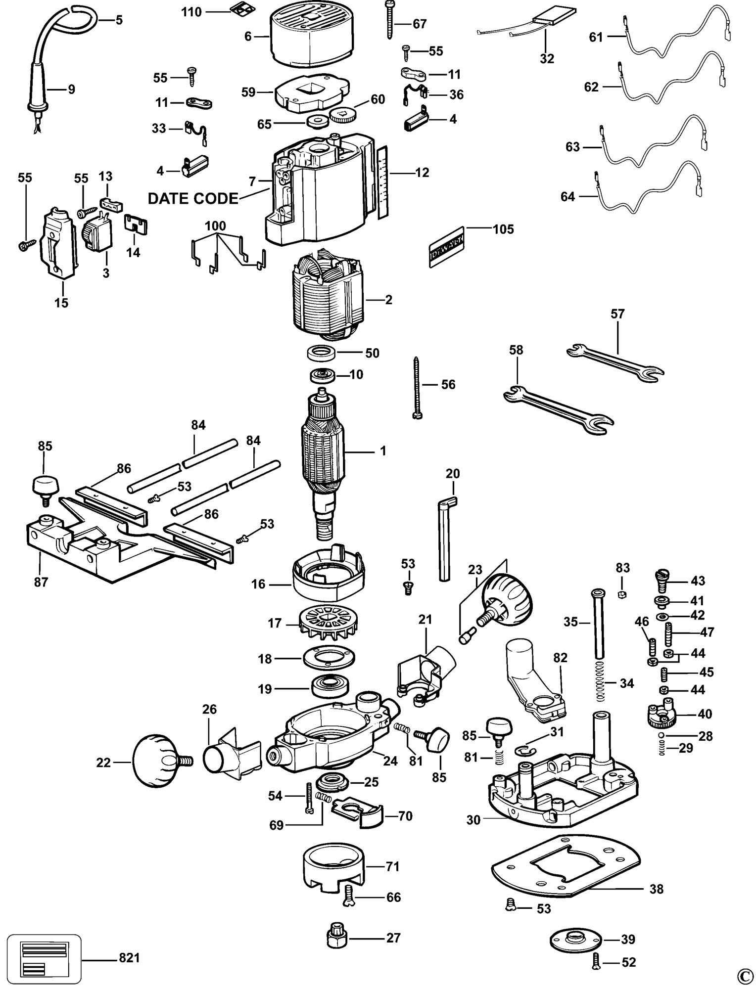 Spares For Dewalt Dw615 Router Type 5 Spare Dw615 Type 5