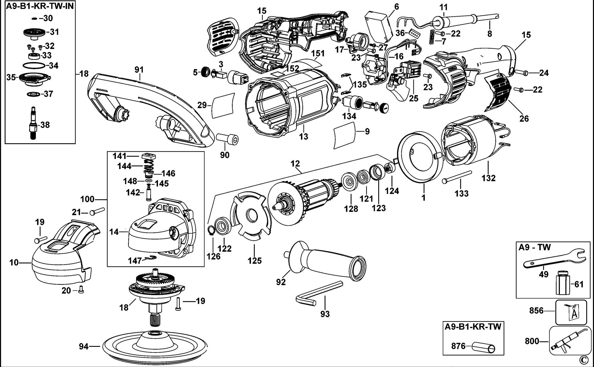 Spares For Dewalt Dwp849x Polisher Type 1 Spare Dwp849x