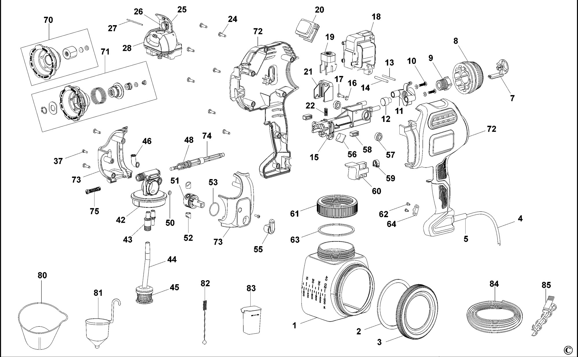 Spares For Black Amp Decker Bdps600 Spray Gun Type 1 Spare Bdps600 Type 1 From Power Tool Centre