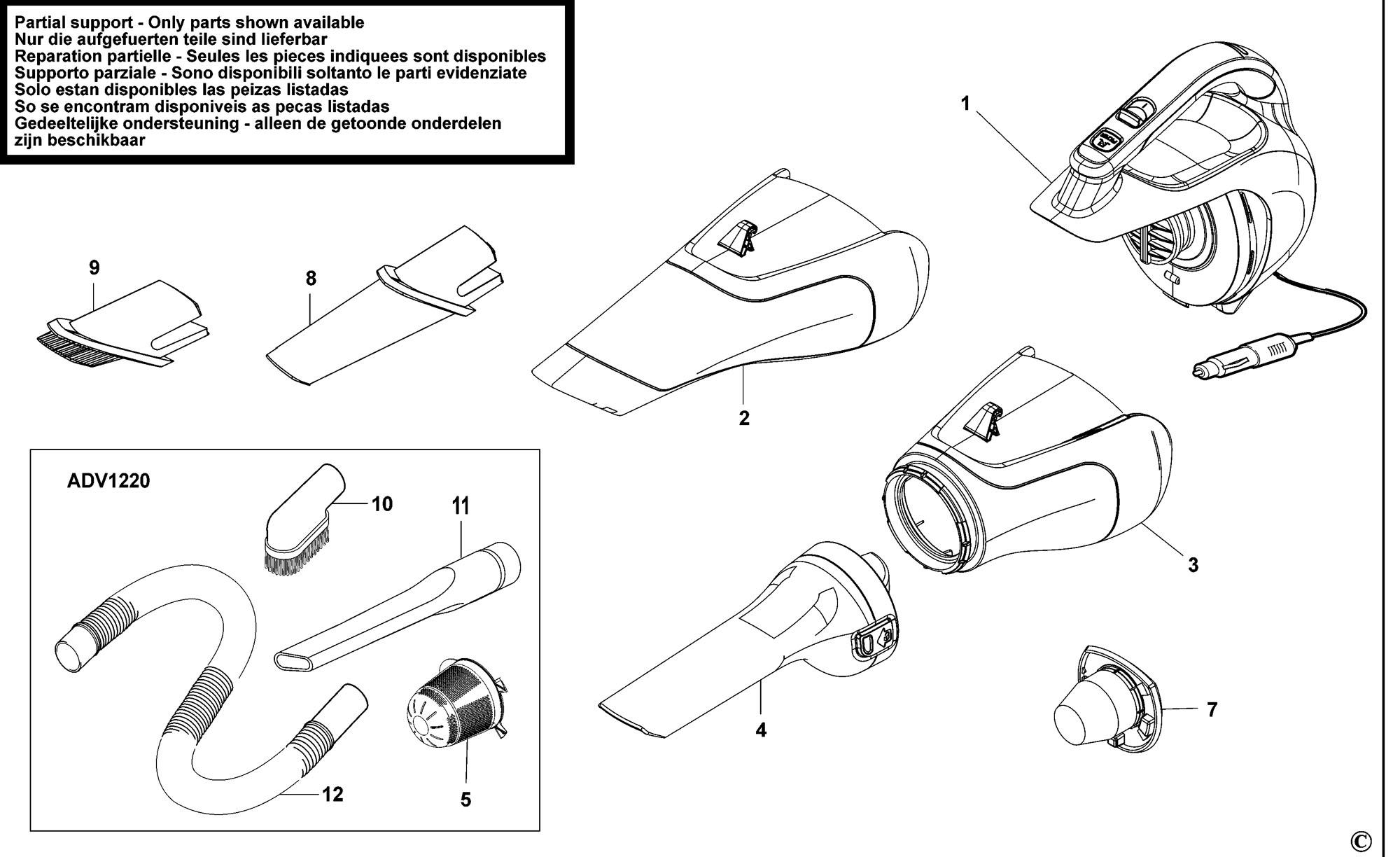 Spares For Black Amp Decker Adv Car Vac Type H1 Spare