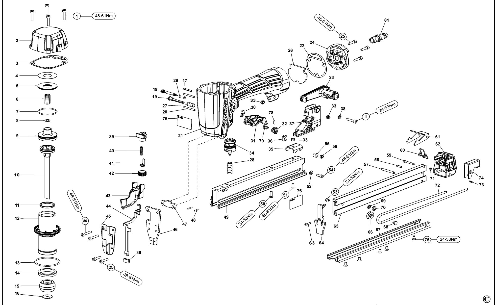 Spares For Bostitch Sl540 Pneumatic Stapler Type Reve