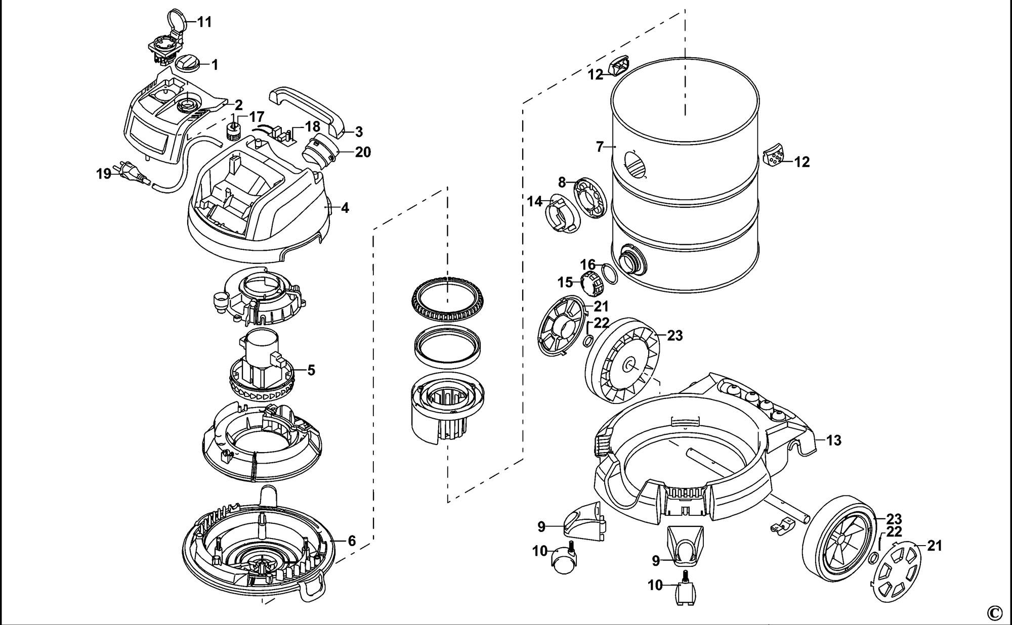Spares For Stanley Sxvc30xtde Vacuum Cleaner Type 1