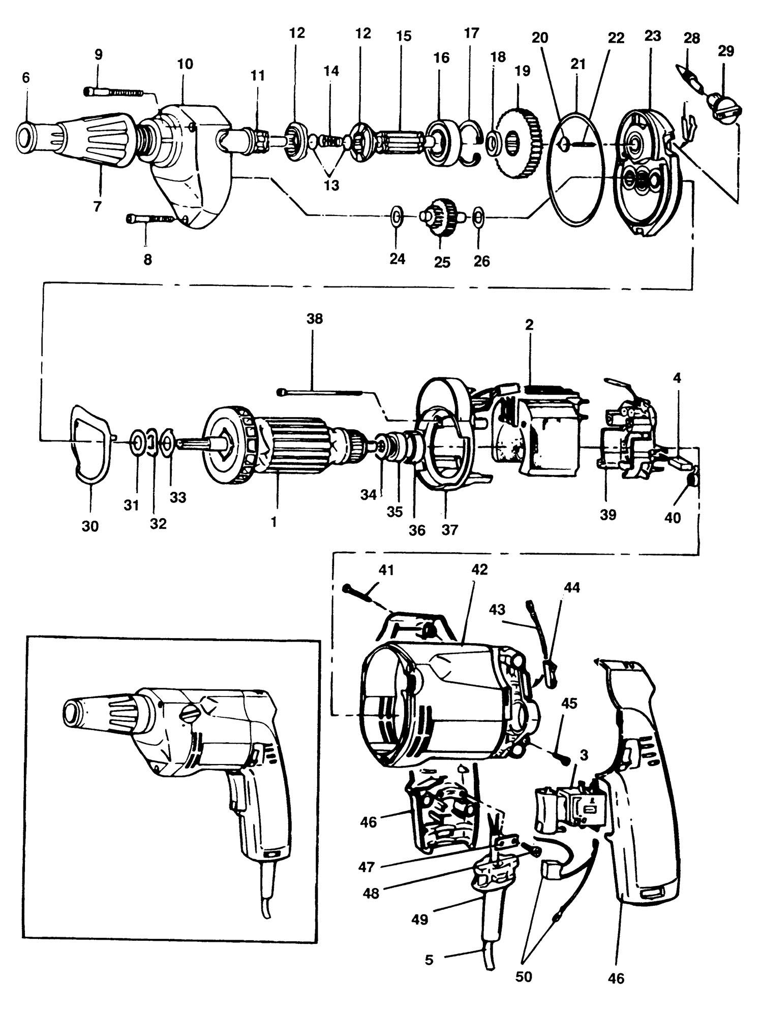 Spares For Elu Esd702 Screwdriver Type 1 Spare Esd702