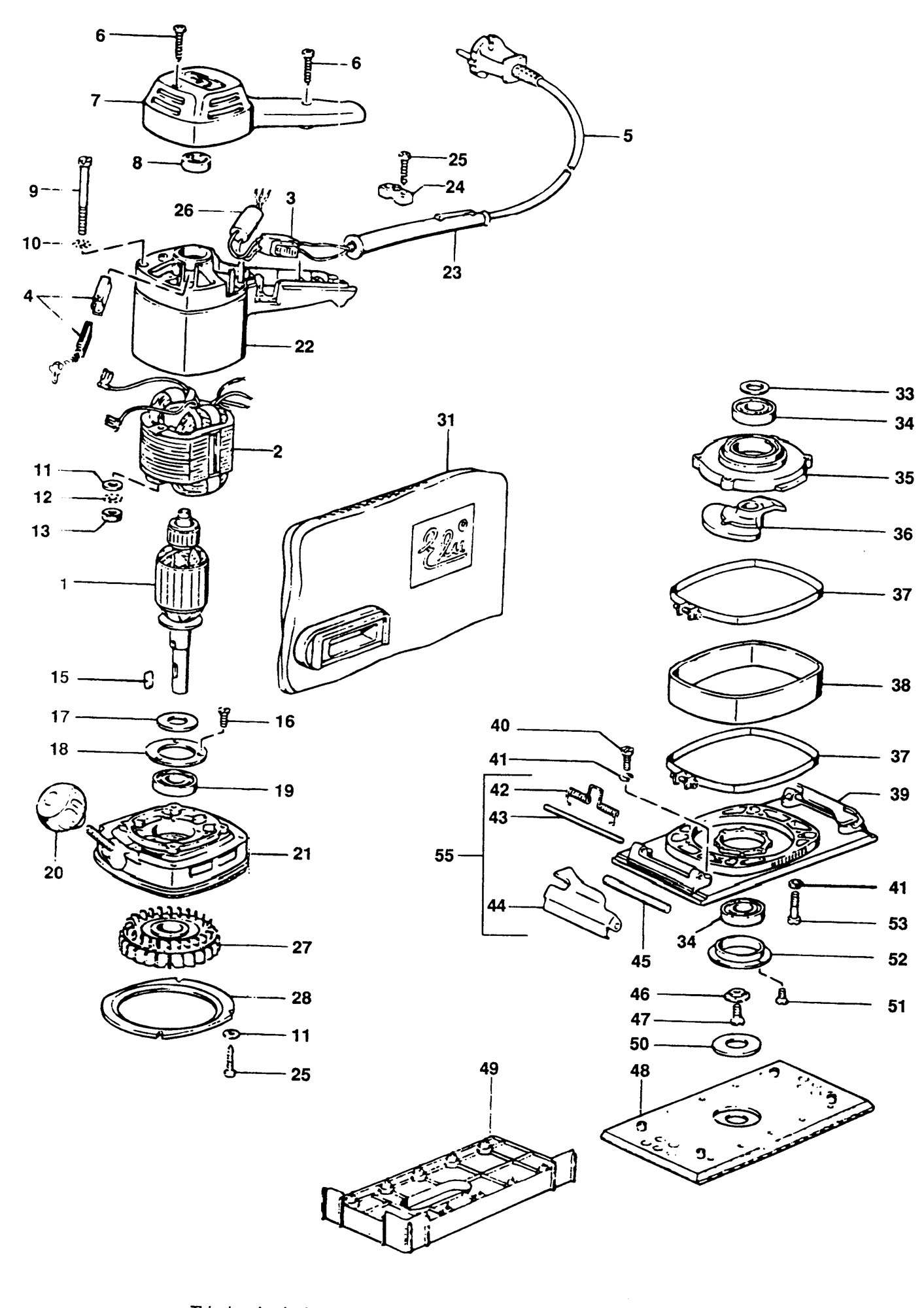 Spares For Elu Mvs94 Orbital Sander Type 1 Spare Mvs94