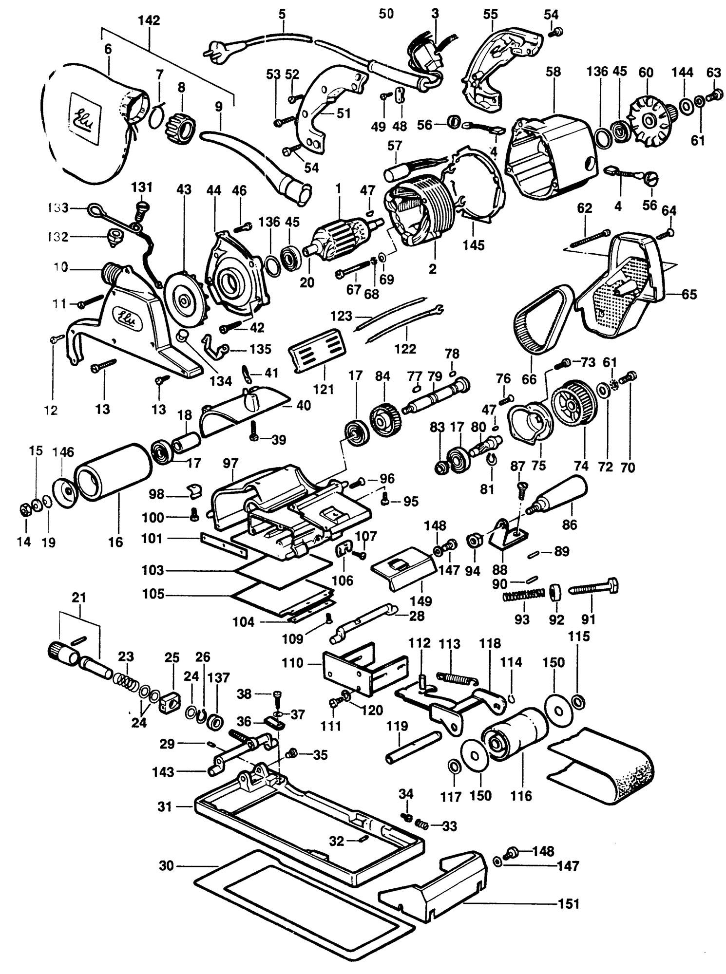 Spares For Elu Mhb90k Belt Sander Amp Frame Type 1 Spare