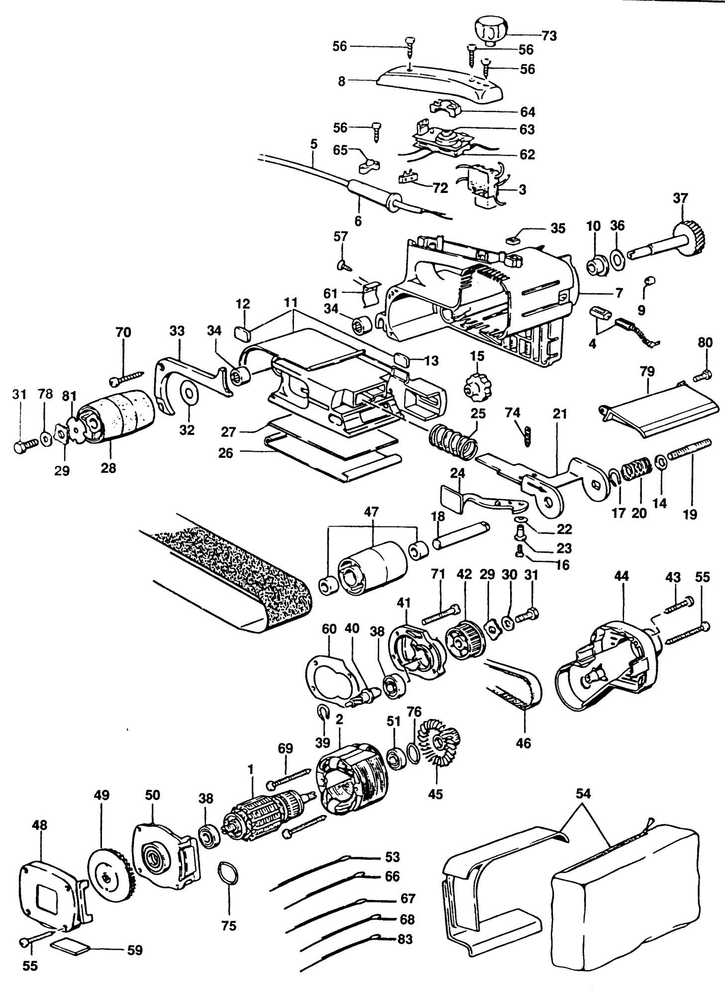 Spares For Elu Mhb157e Belt Sander Type 1 Spare Mhb157e
