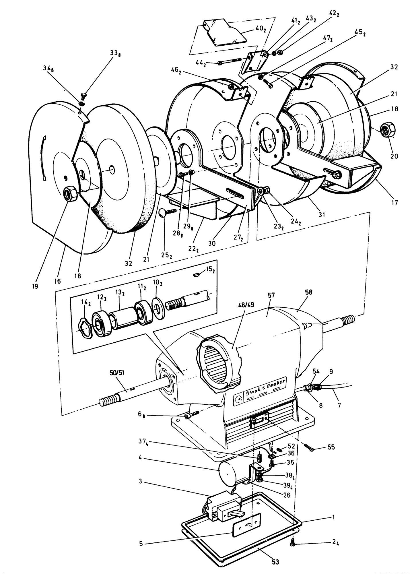 Spares For Black Amp Decker P Bench Grinder Type 1