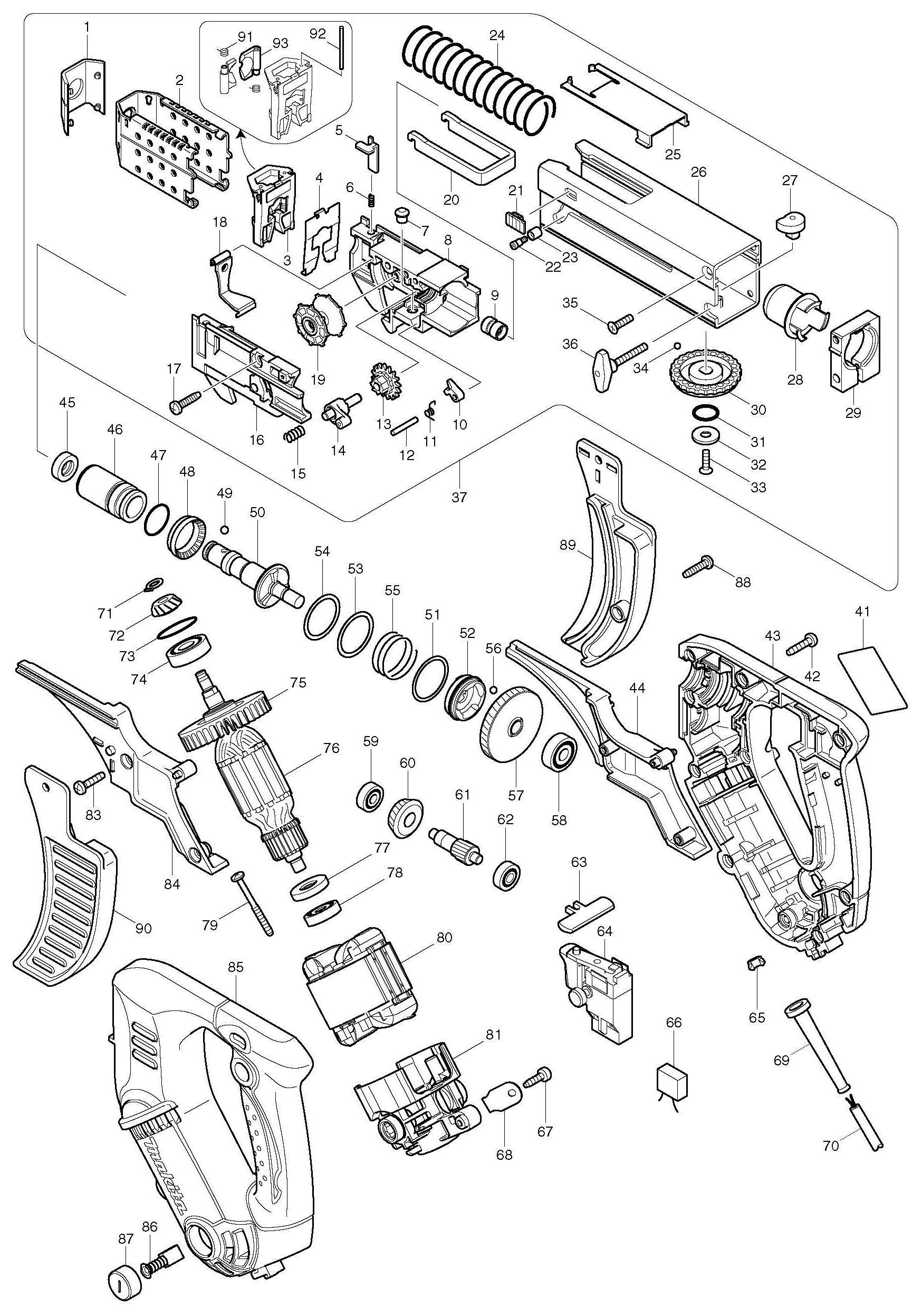 Spares For Makita Screwdriver Auto Feed Spare 110v
