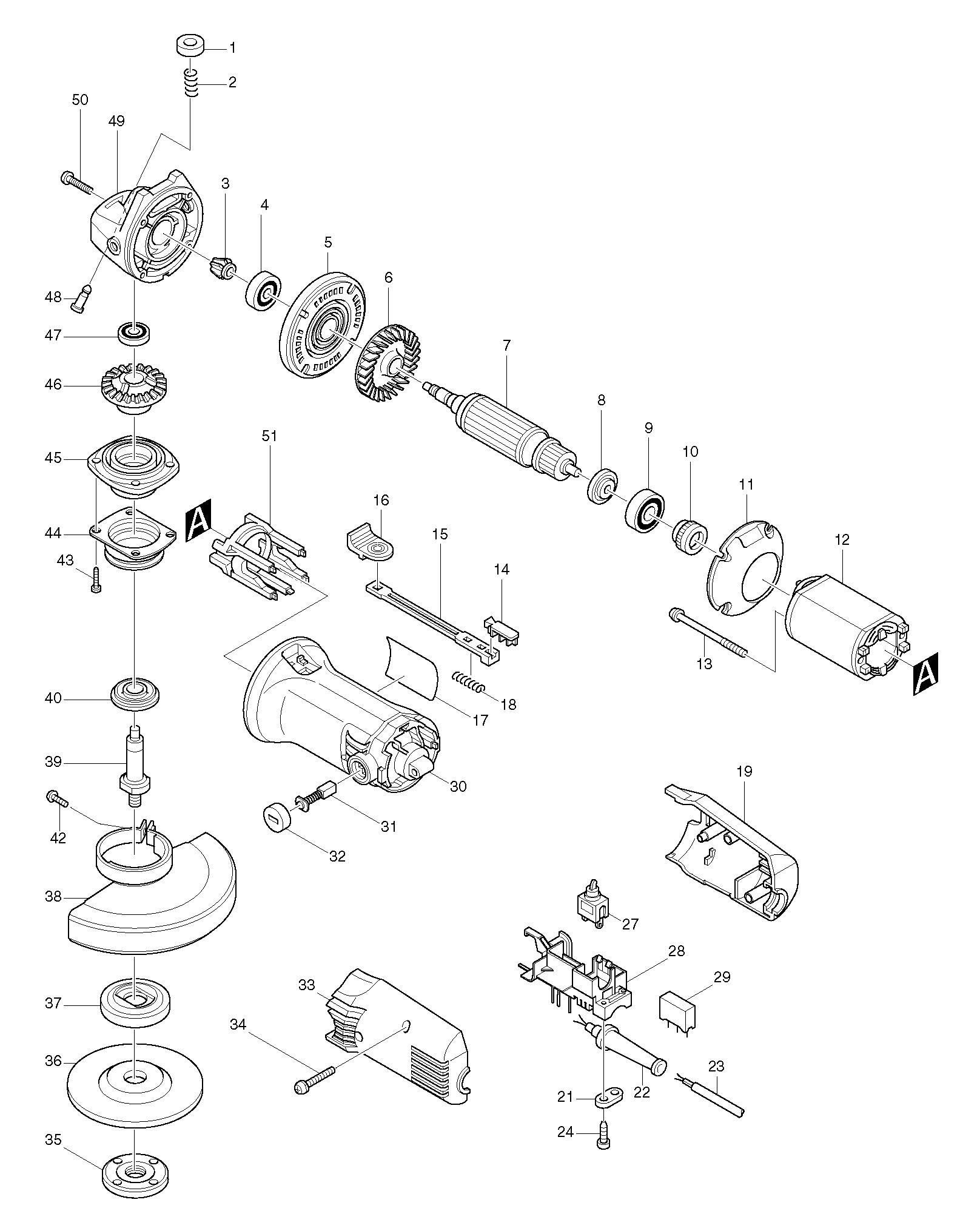 Spares For Makita Angle Grinder Spare From Power