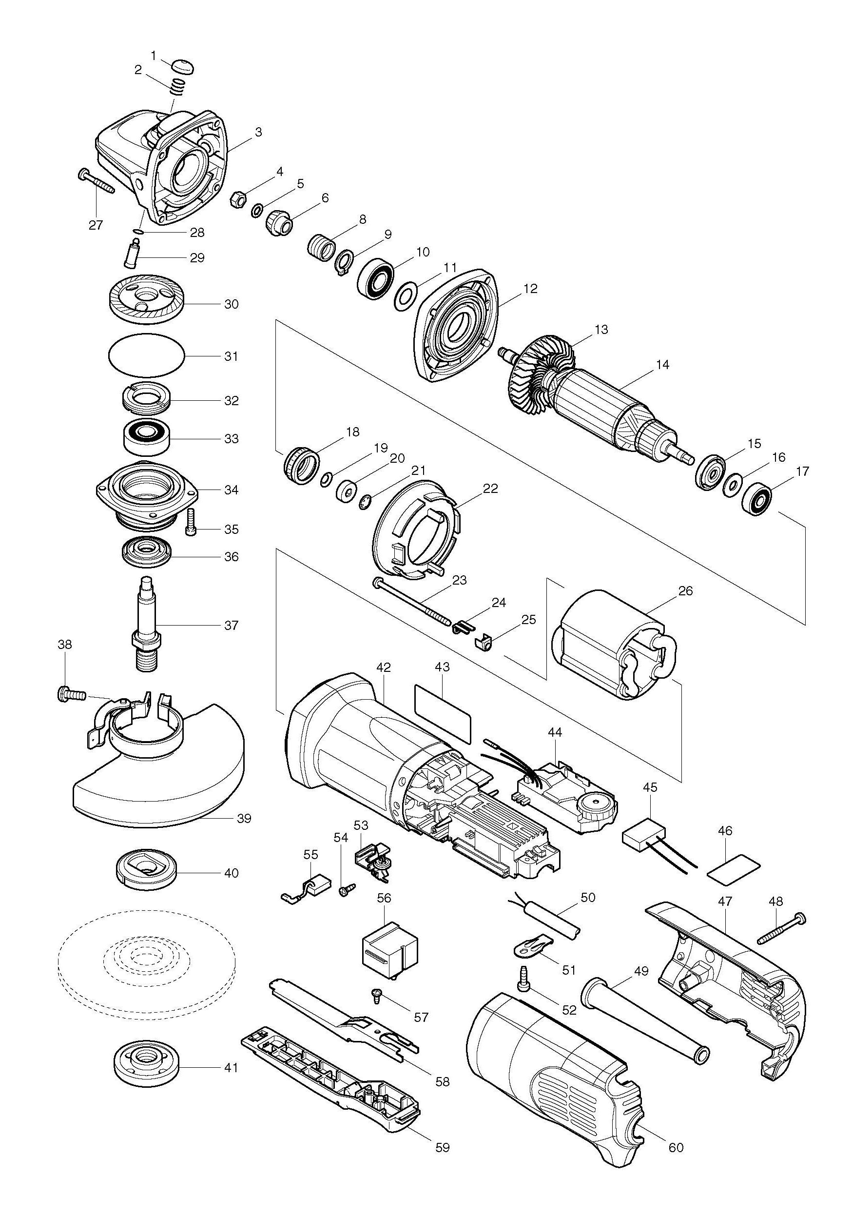 Spares For Makita Pcv 125mm Angle Grinder Spare