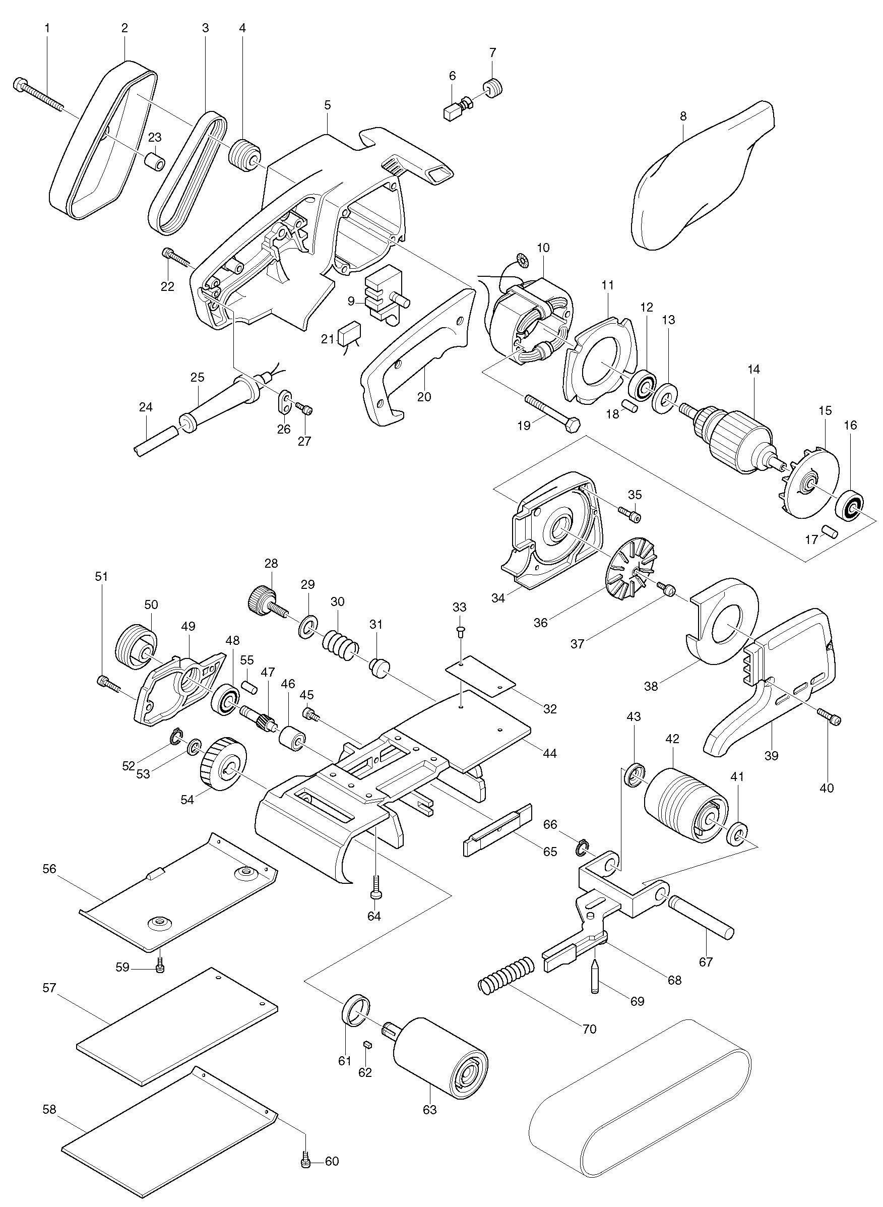 Spares For Makita Db Corded 76 X 610mm Belt Sander