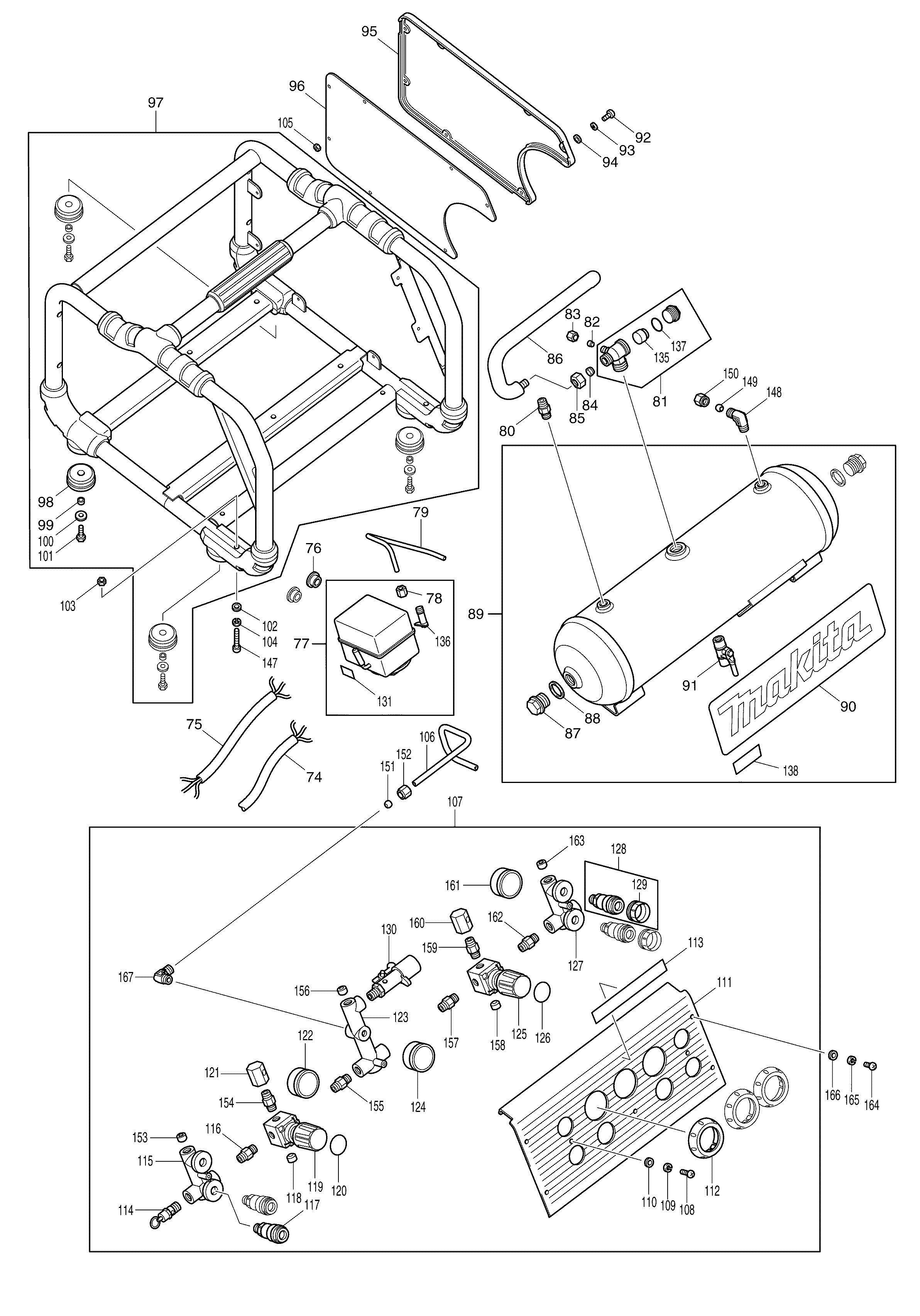Spares For Makita Ac310h High Pressure Air Compressor 2