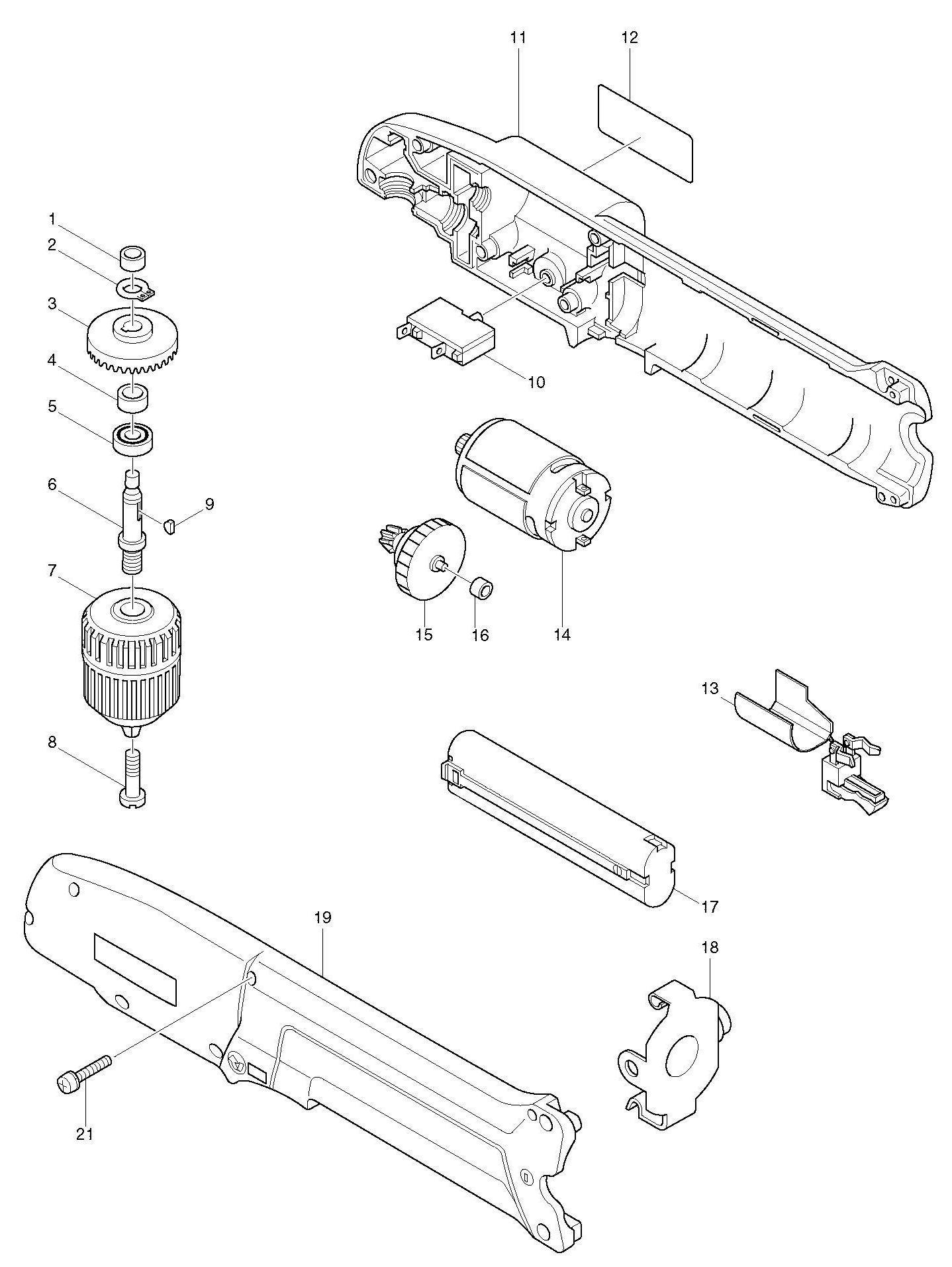 Spares For Makita Da391d Angle Drill Spare Da391d From Power Tool Centre