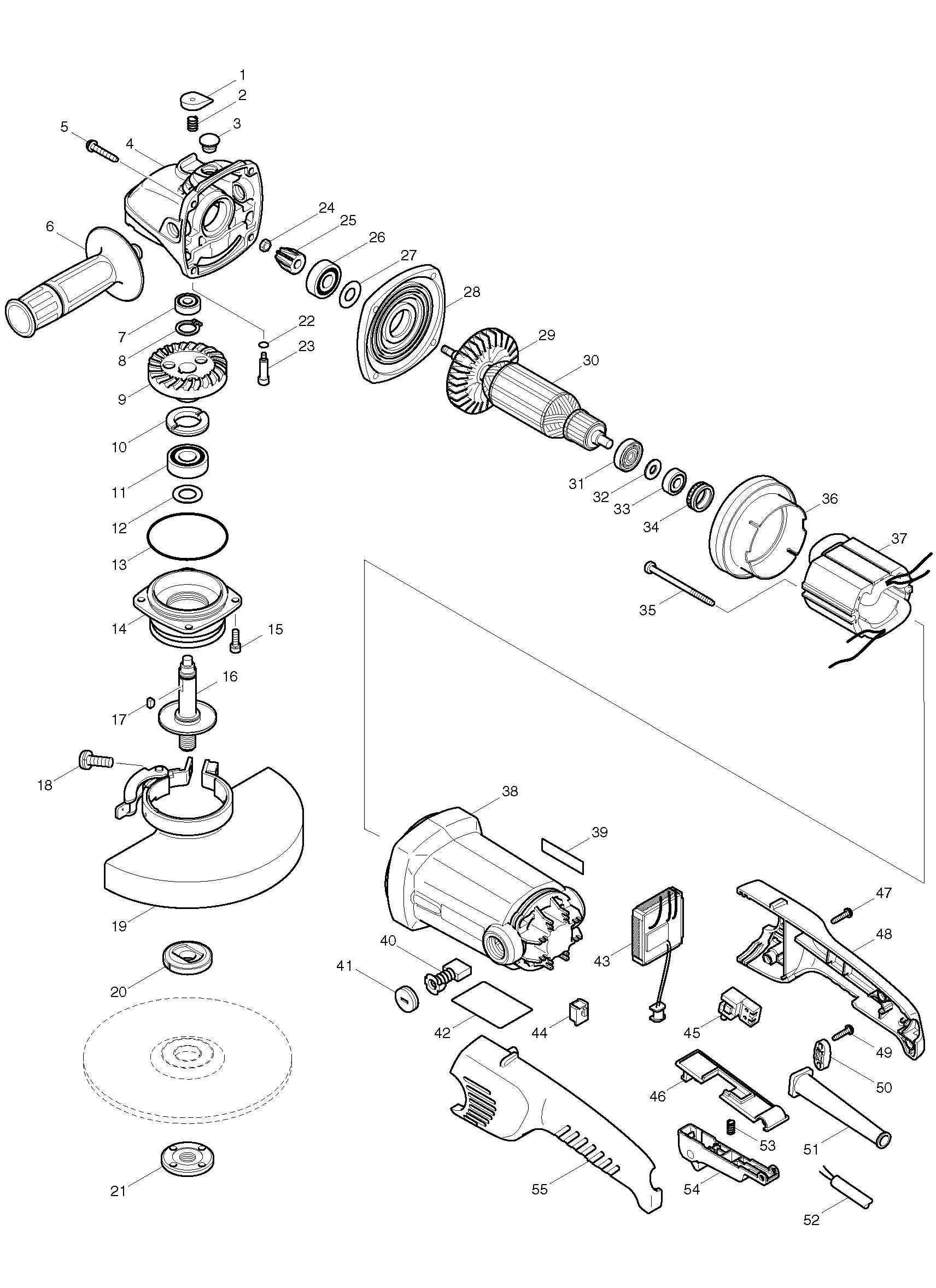 Spares For Makita Ga C 180mm Angle Grinder 110v Amp 240v