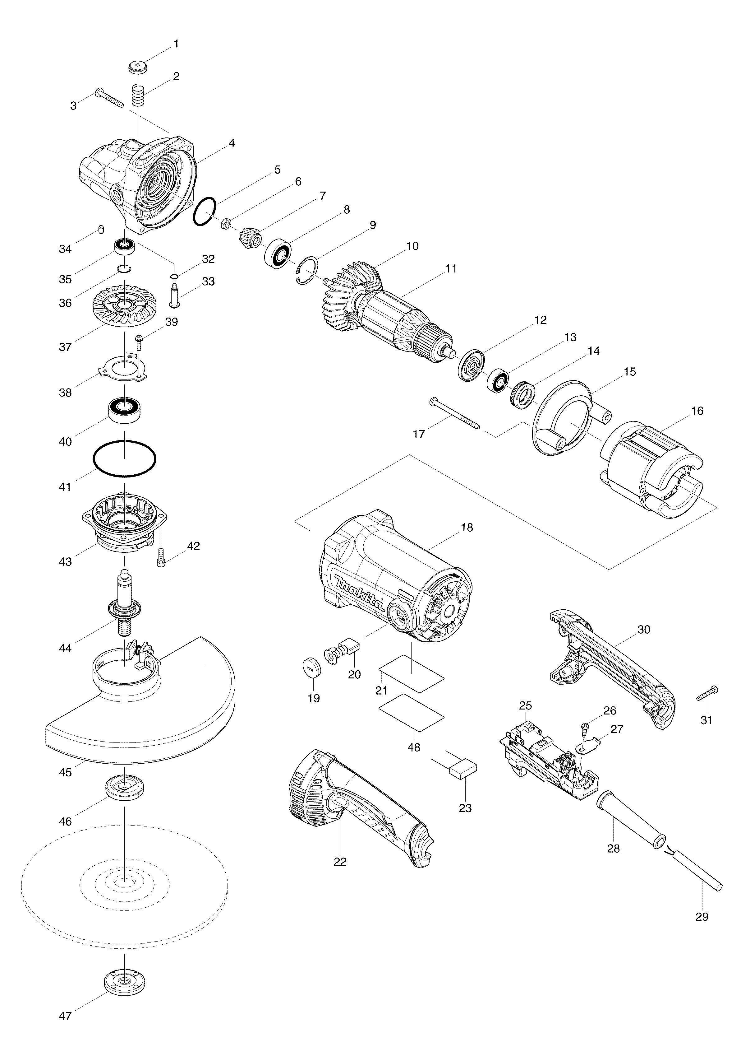 Spares For Makita Ga 230mm Angle Grinder 110v 240v
