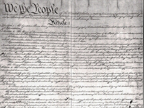 US Constitution Manuscript - Preamble and Article I