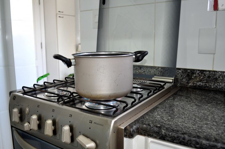 Pot cooking on the kitchen stove