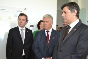 Na foto: Nuno Augusto (diretor geral do parque), Rui Santos (presidente da autarquia), Manuel Caldeira Cabral (Ministro da Economia)/ Foto: Salomé Ferreira