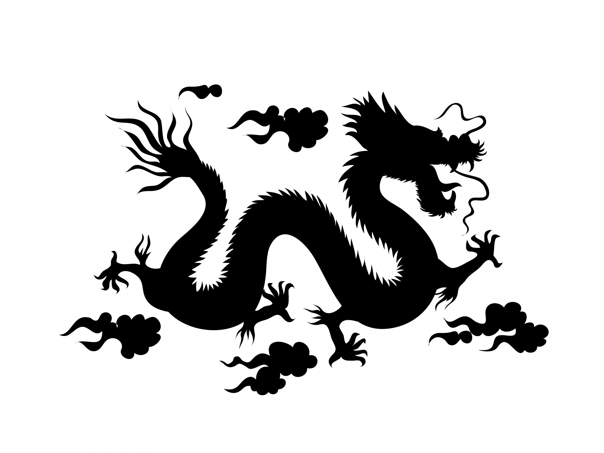 Silhouette Of A Chinese Dragon Free Stock Photo
