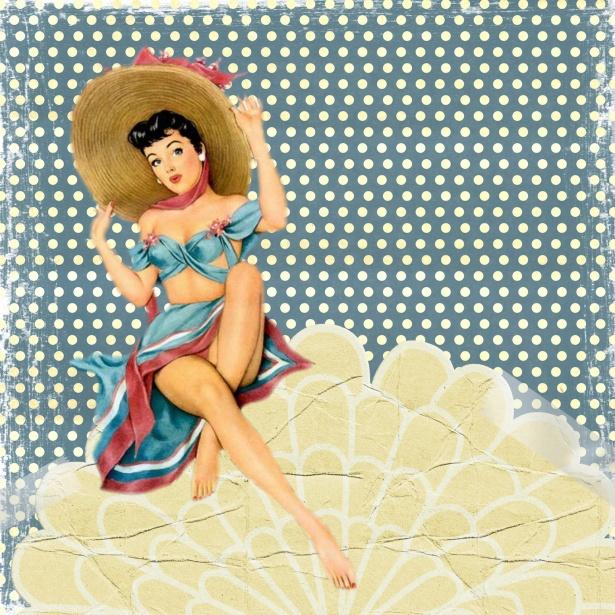 Retro Pin Up Lady Art Collage Free Stock Photo Public