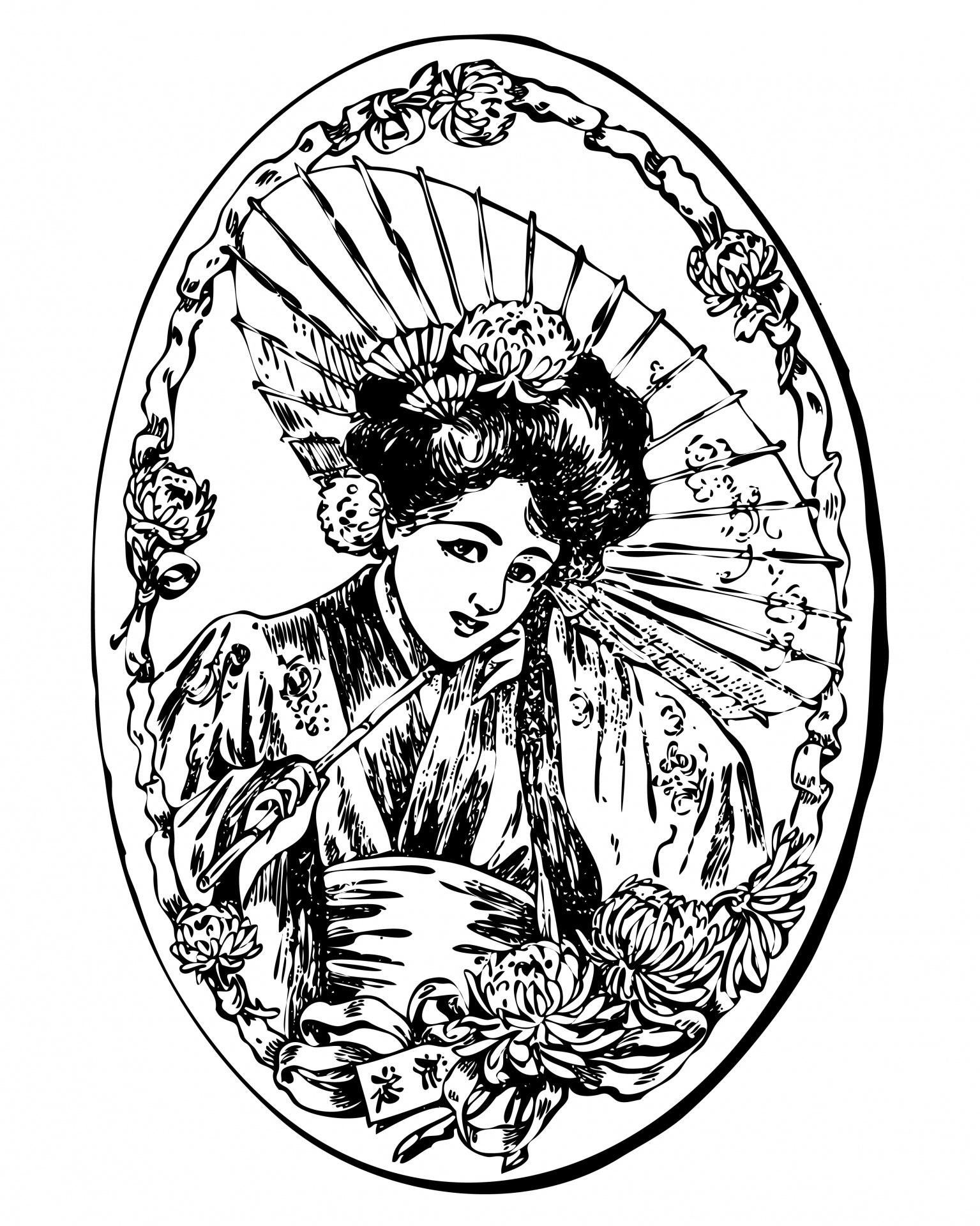 Geisha Girl Clipart Illustration Free Stock Photo
