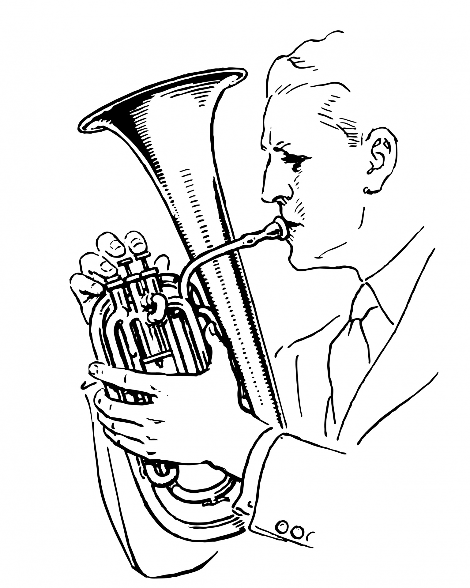 Man Playing Horn Clipart Free Stock Photo