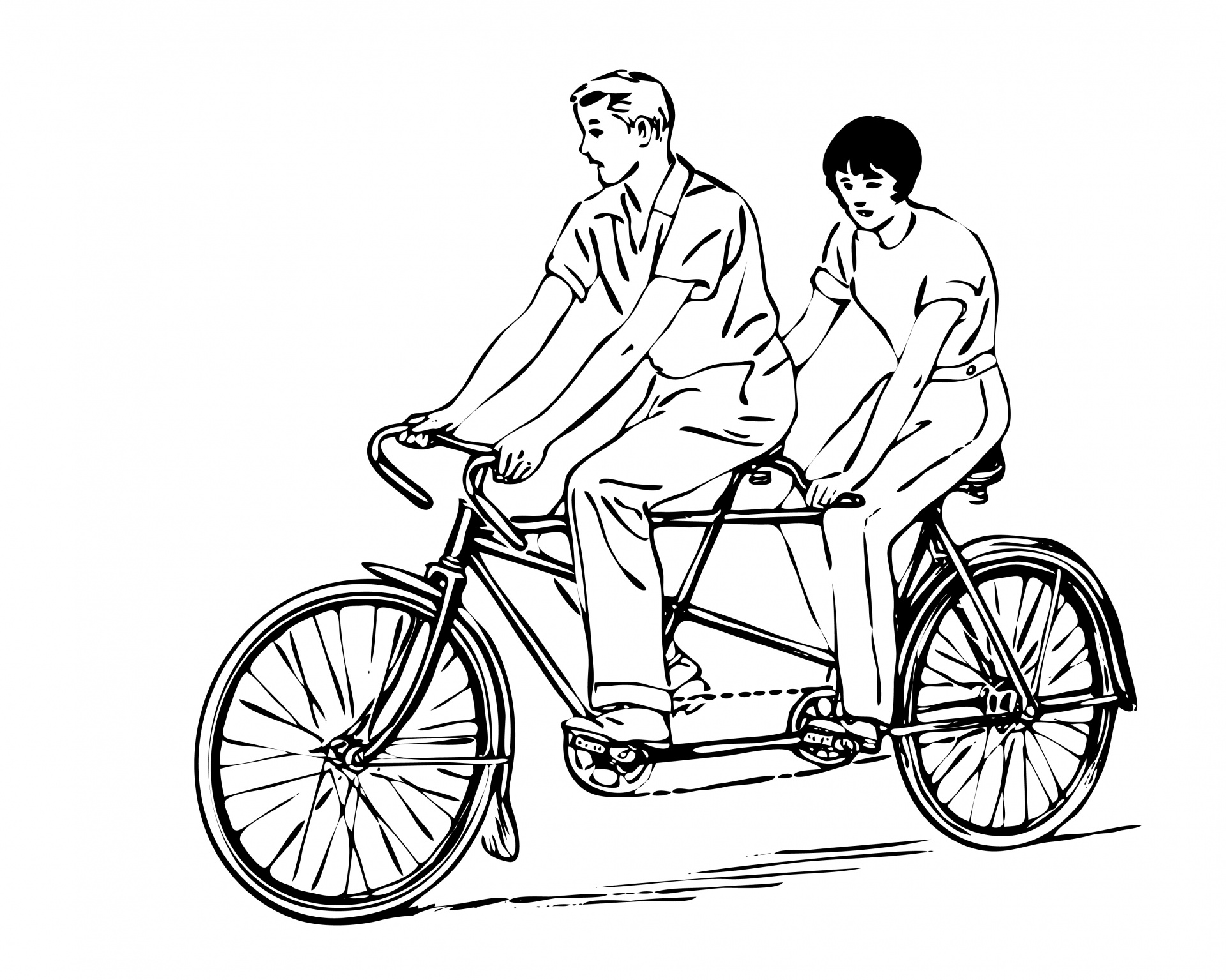 Riding Tandem Couple Clipart Free Stock Photo