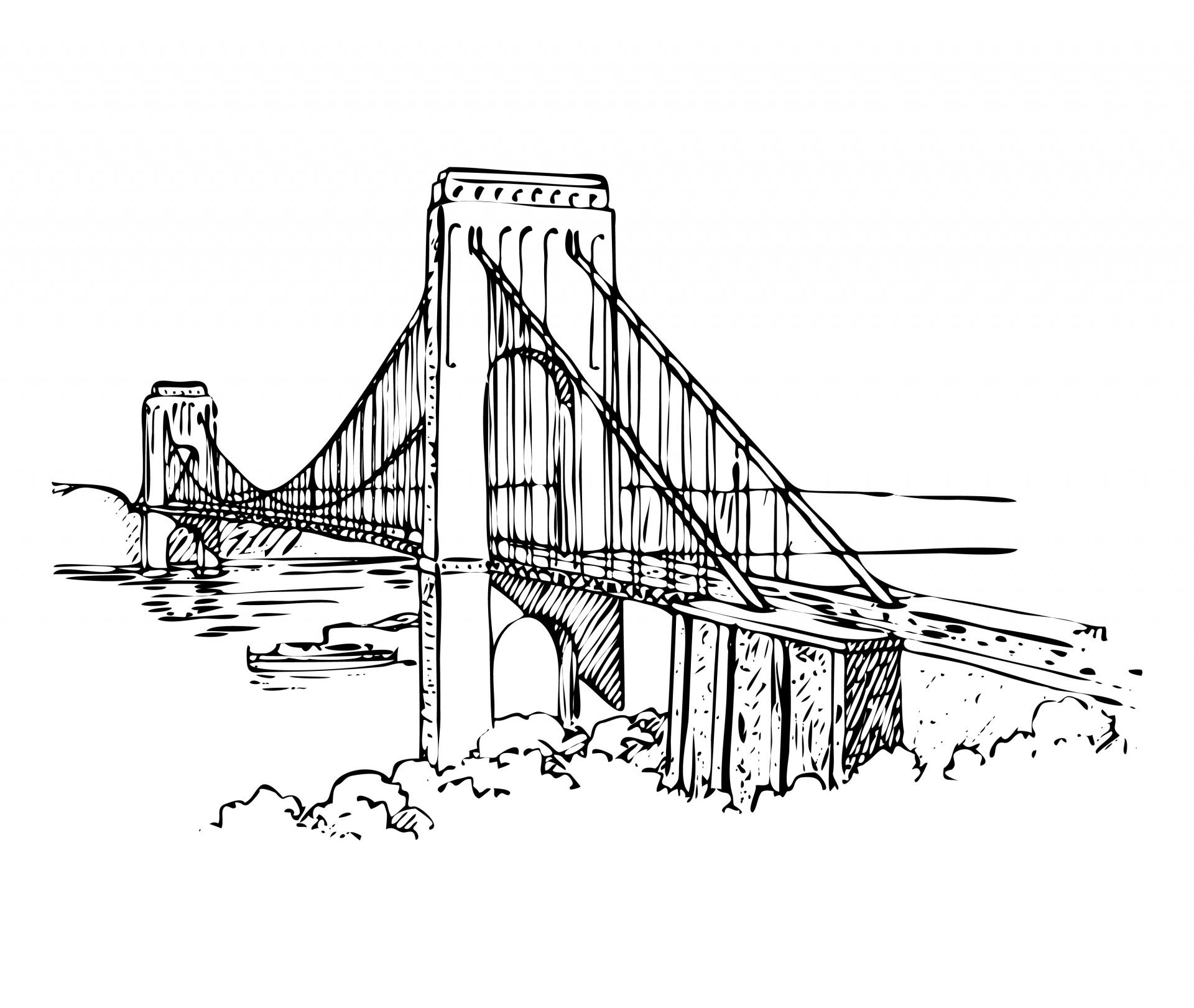 Suspension Bridge Illustration Free Stock Photo