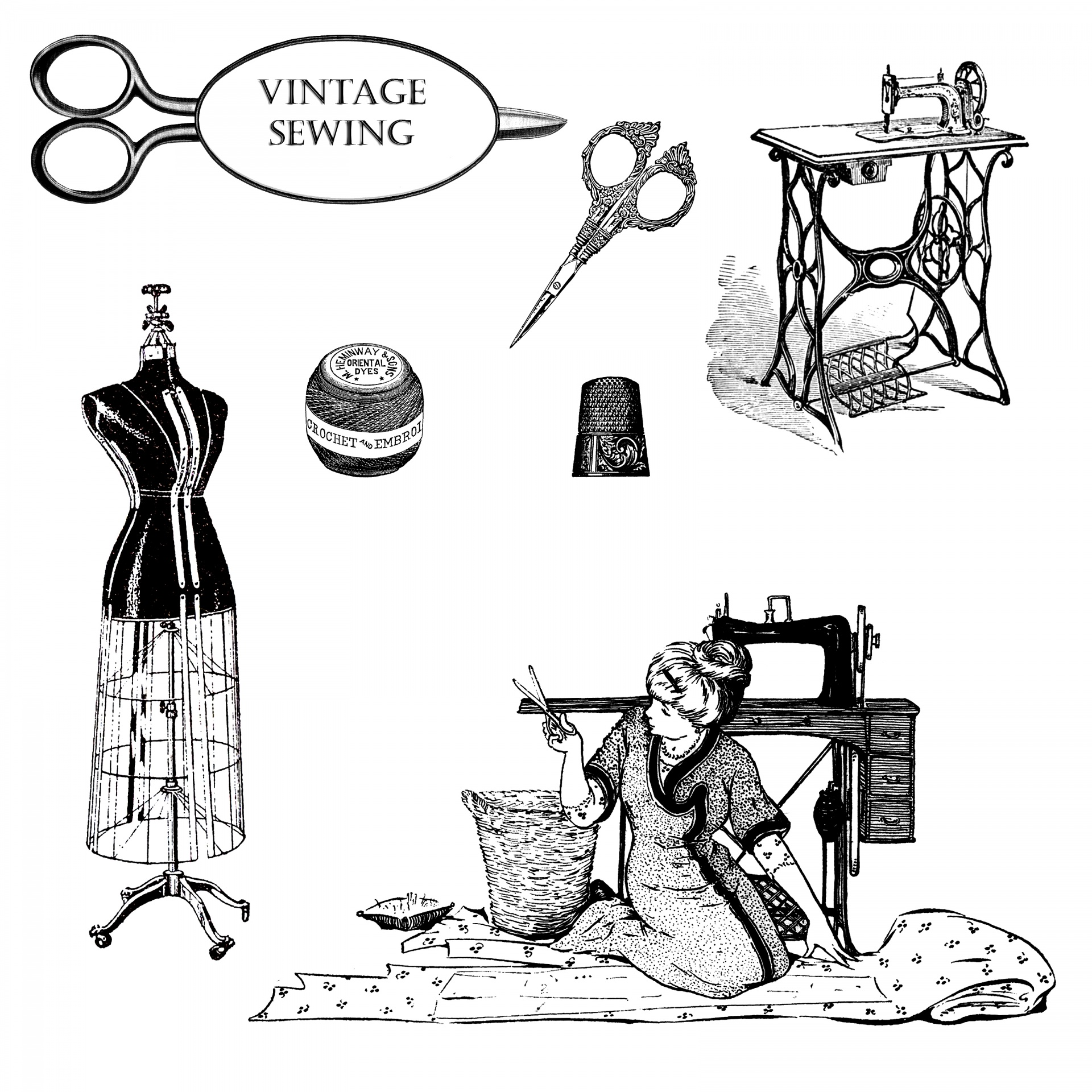 Vintage Dressmaking Clipart Free Stock Photo