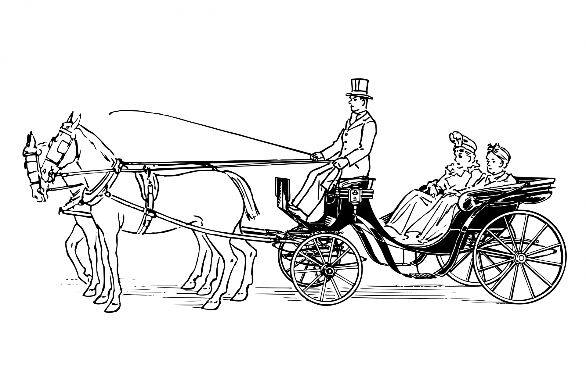 Horse Drawn Carriage Clipart Free Stock Photo