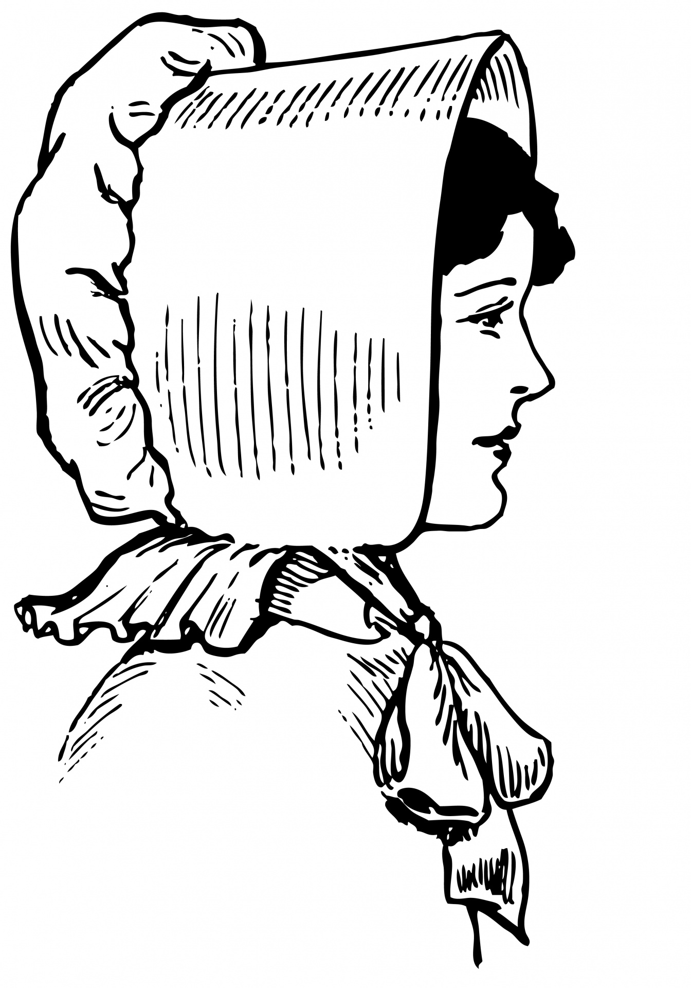 Lady In Bonnet Illustration Free Stock Photo
